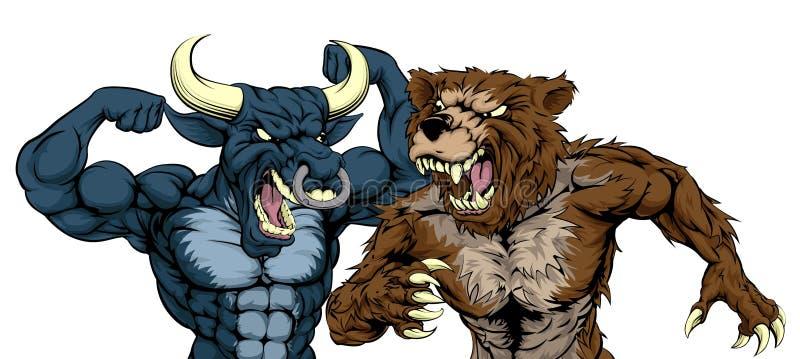 Urso contra o conceito de Bull ilustração do vetor