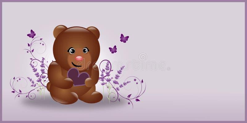 Urso da alfazema do marrom escuro ilustração royalty free