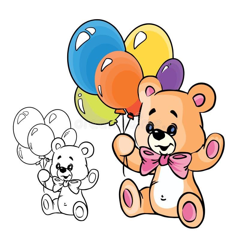Urso da peluche com balões ilustração royalty free
