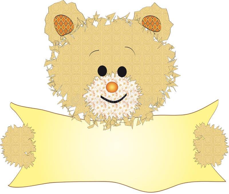 Urso da peluche com bandeira ilustração do vetor