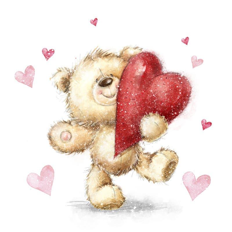 Urso da peluche com coração vermelho grande Cartão dos Valentim Projeto do amor ilustração stock