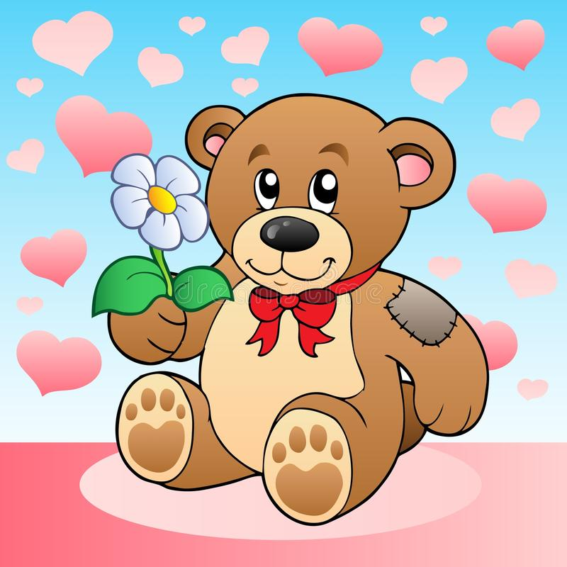 Urso da peluche com flor e corações ilustração do vetor