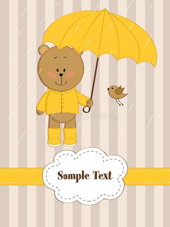 Urso da peluche com guarda-chuva ilustração royalty free