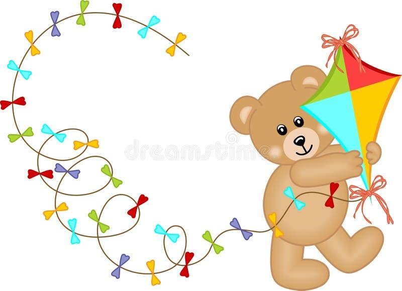Urso da peluche com vento do papagaio ilustração royalty free