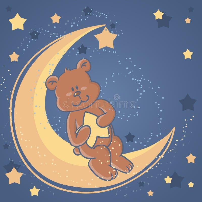 Urso da peluche dos sonhos doces em uma lua ilustração stock