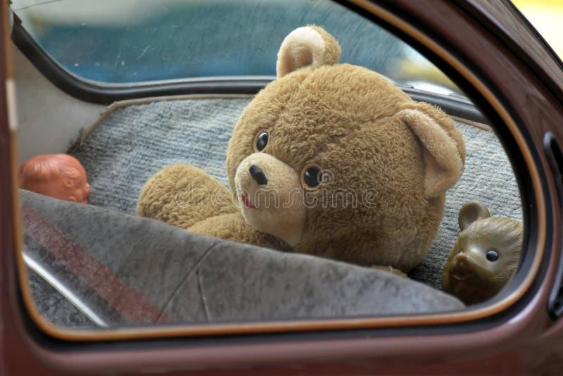 Urso da peluche em um carro fotografia de stock royalty free