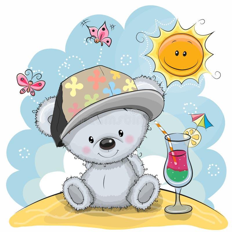 Urso da peluche na praia ilustração do vetor