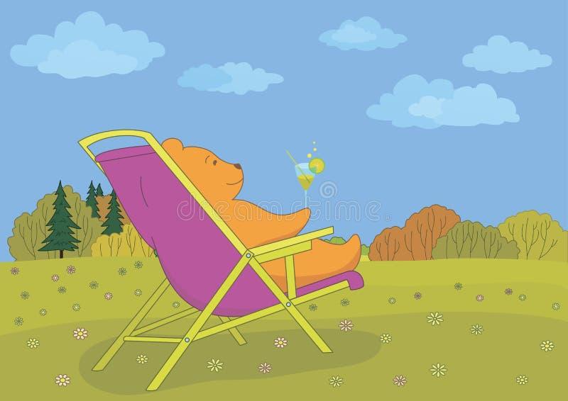 Urso da peluche que bebe um cocktail na floresta ilustração do vetor
