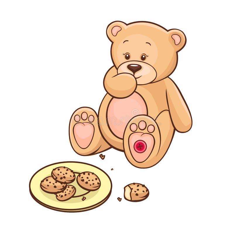 Urso da peluche que come bolinhos ilustração stock