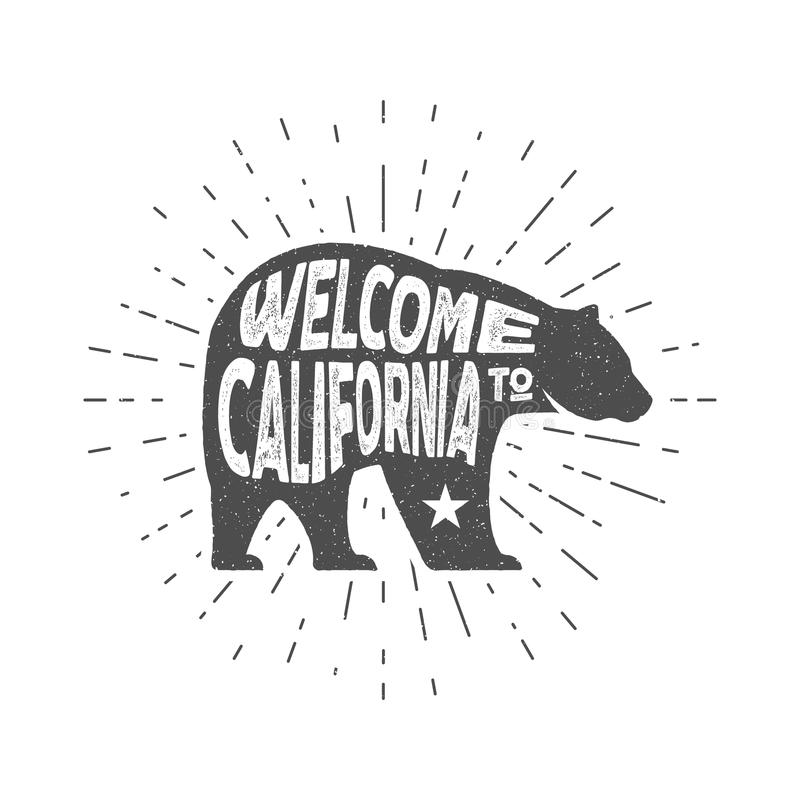 Urso da república de Califórnia do vintage com sunbursts Boa vinda ao sinal de Califórnia Efeito do Grunge Isolado Mão desenhada ilustração stock
