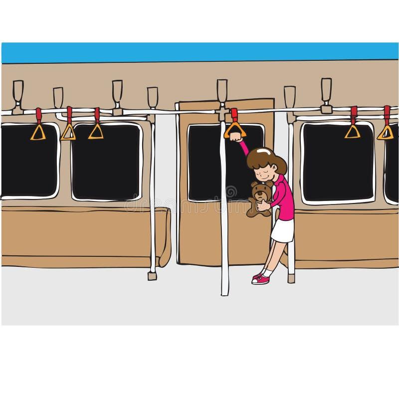 Urso das posses da menina no metro ilustração do vetor