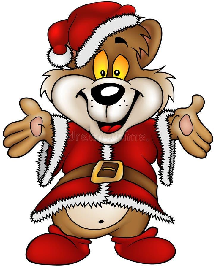 Urso de Brown feliz do Natal ilustração stock