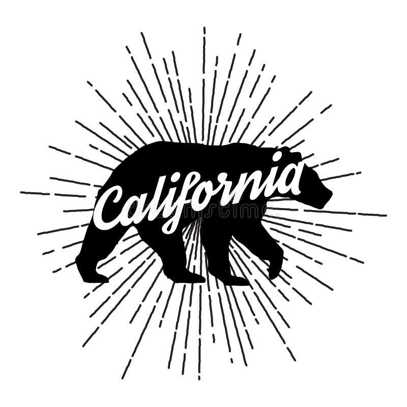 Urso de Califórnia do vintage com sunbursts ilustração royalty free