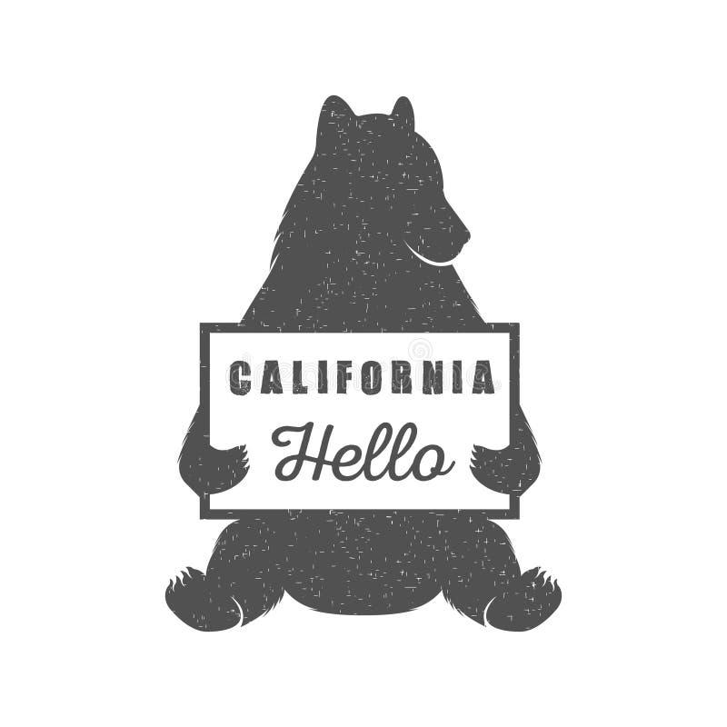 Urso de carona engraçado com sinal de Califórnia ilustração do vetor