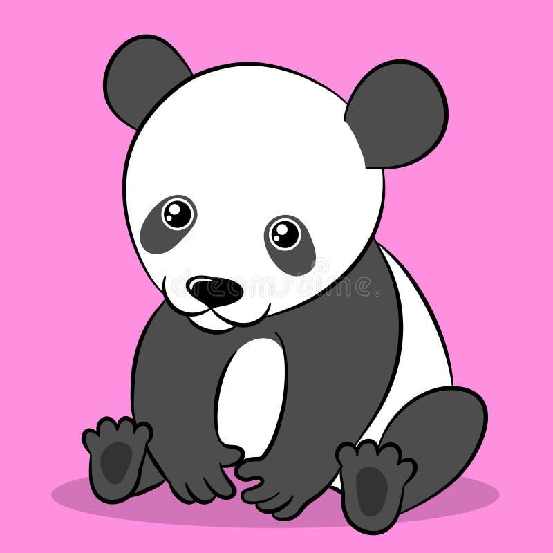 Urso de panda bonito dos desenhos animados que olha a câmera ilustração do vetor