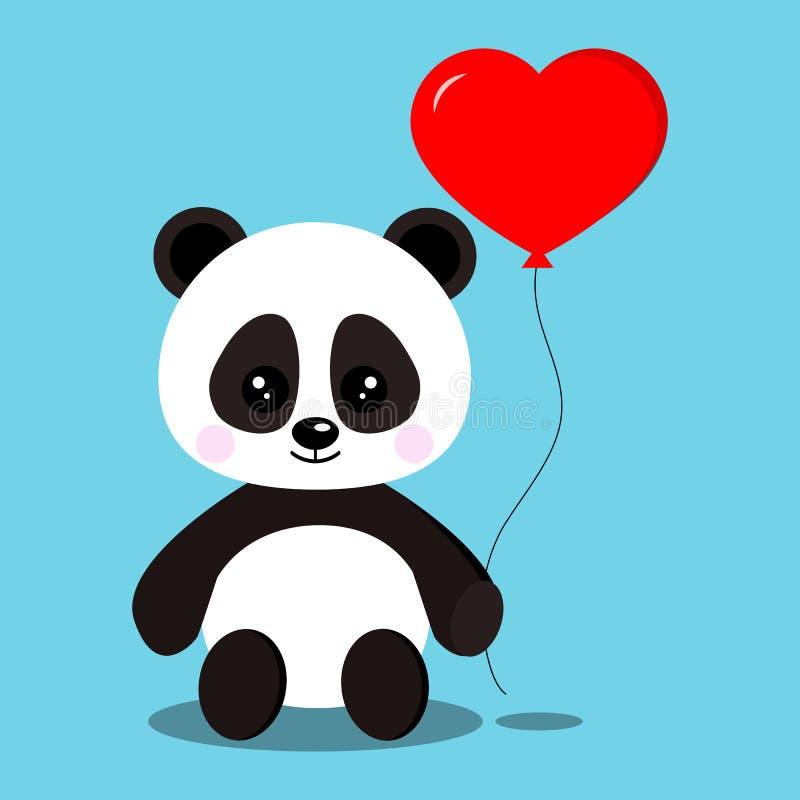 Urso de panda doce e bonito romântico isolado do bebê ilustração do vetor