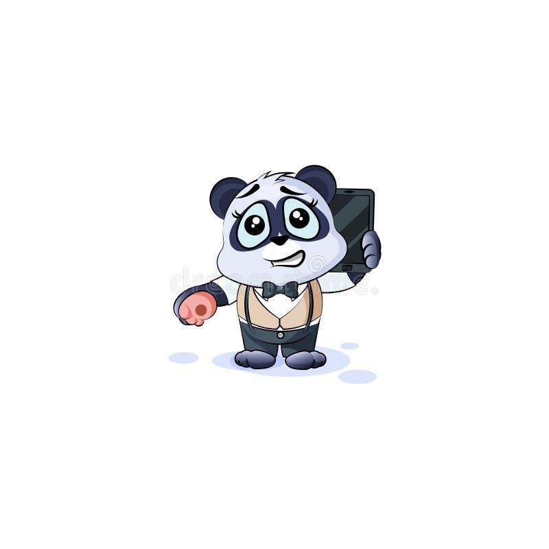 Urso de panda no terno de negócio com telefone esperto ilustração stock