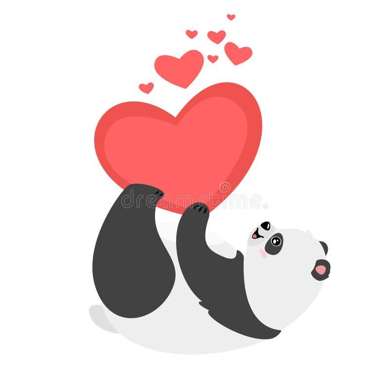 Urso de panda preguiçoso que guarda a ilustração do coração ilustração do vetor