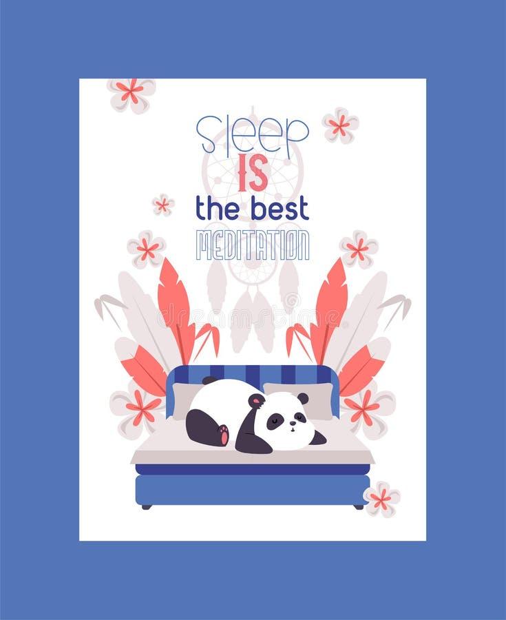 Urso de panda que dorme na cama na ilustração do vetor do cartaz da sala O sono é a melhor meditação Descanso animal adorável sel ilustração royalty free
