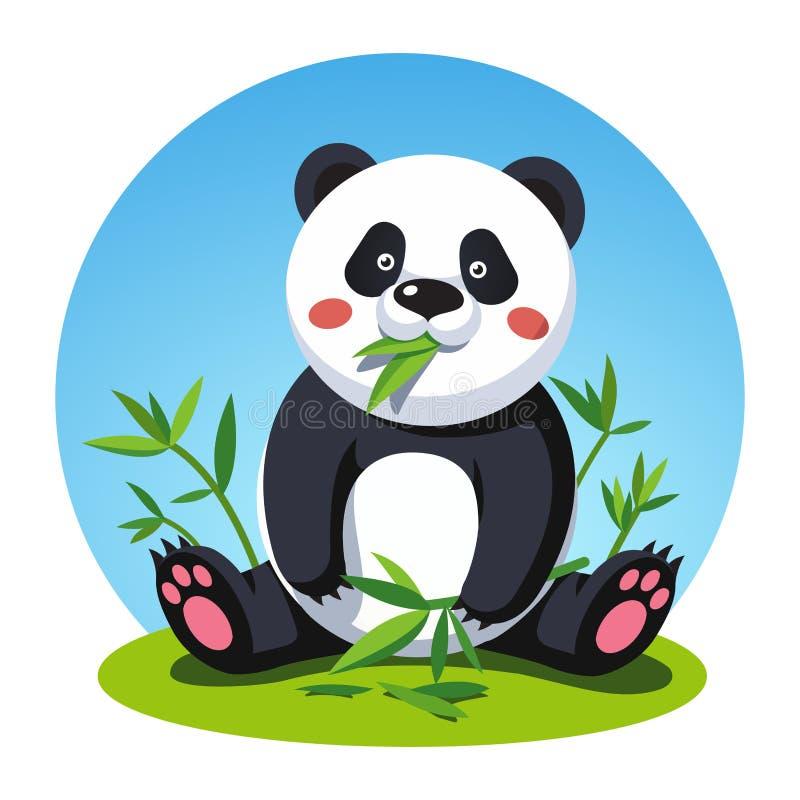 Urso de panda que senta e que mastiga as folhas de bambu da árvore ilustração royalty free