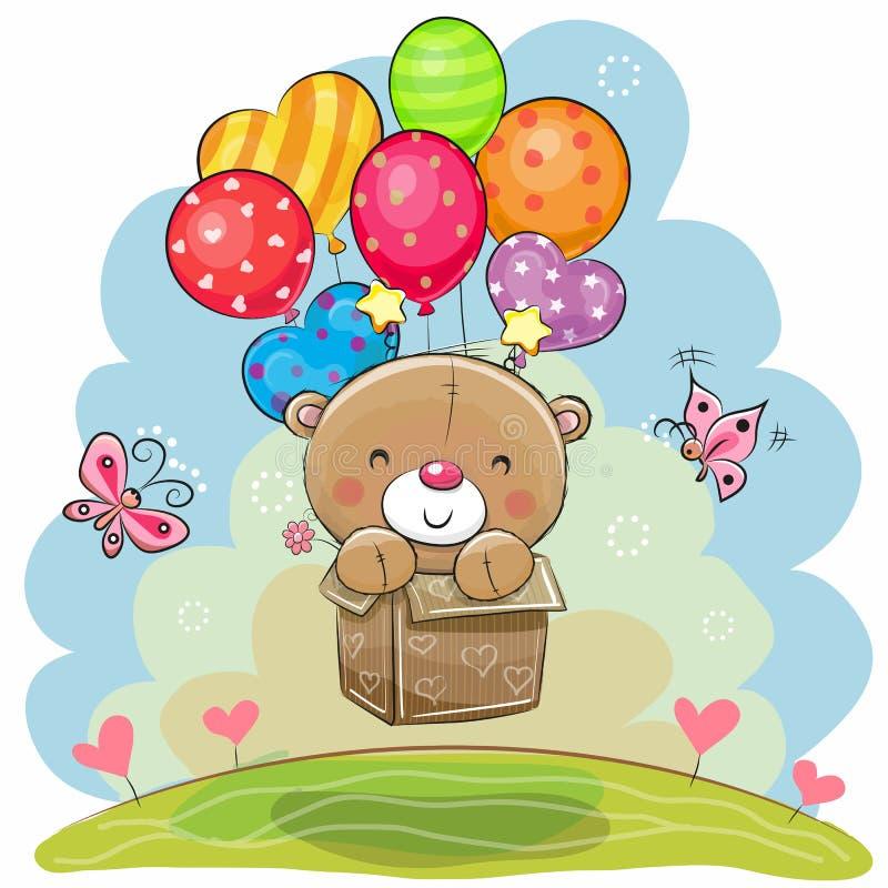Urso de peluche bonito com balões ilustração royalty free