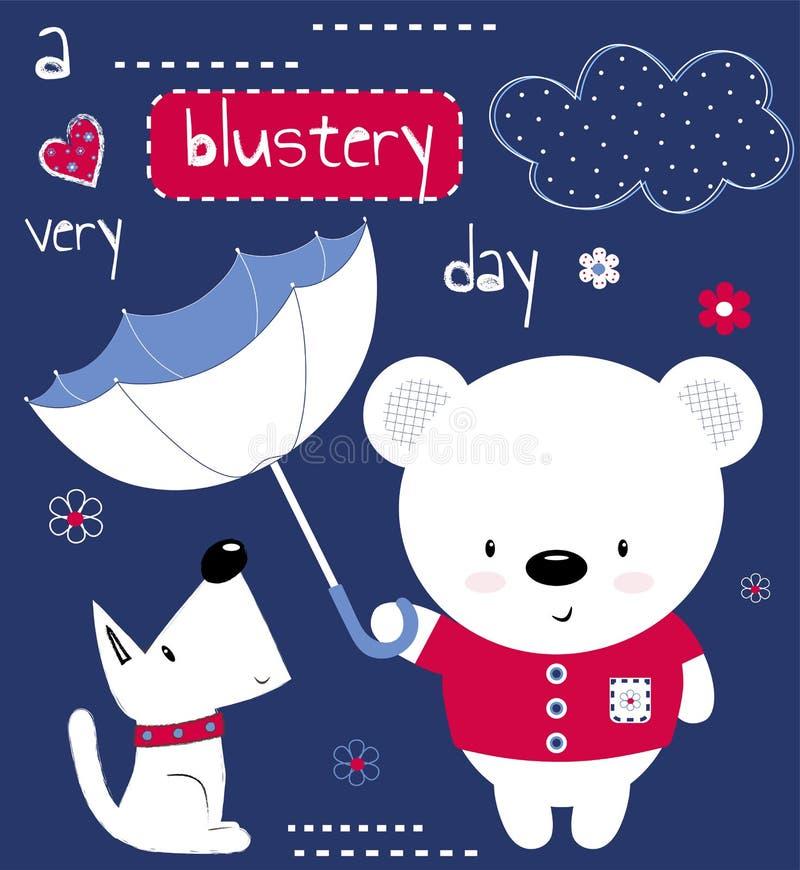 Urso de peluche bonito com guarda-chuva e cachorrinho A impressão para crianças, cartaz das crianças, a roupa das crianças, cartã ilustração royalty free