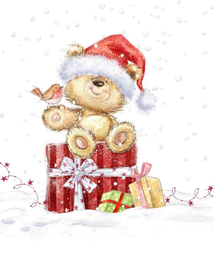 Urso de peluche bonito com os presentes do Natal no chapéu de Santa ilustração royalty free