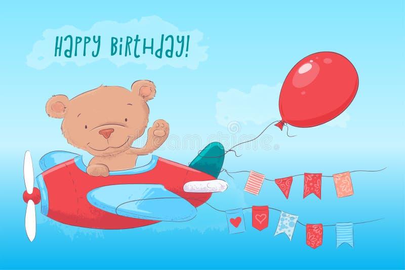 Urso de peluche bonito do cartaz do cartão no plano no estilo dos desenhos animados Desenho da m?o ilustração do vetor