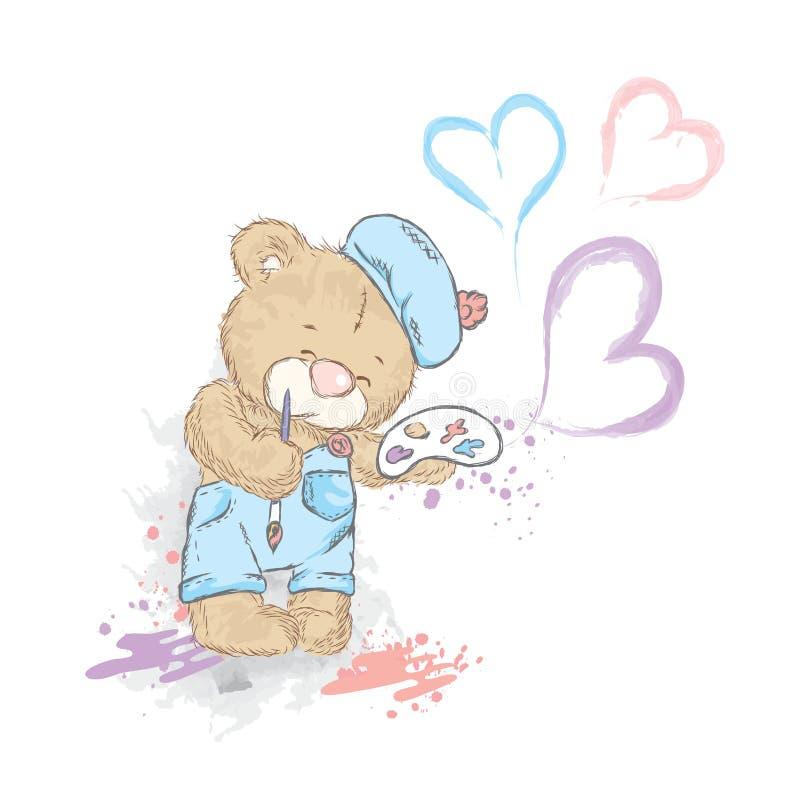 Urso de peluche bonito em um macacão e em uma boina Urso com paleta e escova ilustração do vetor