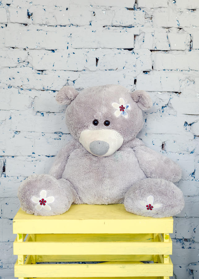 Urso de peluche bonito na sala das crianças fotos de stock royalty free