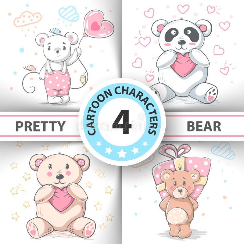 Urso de peluche bonito - personagens de banda desenhada ajustados ilustração do vetor