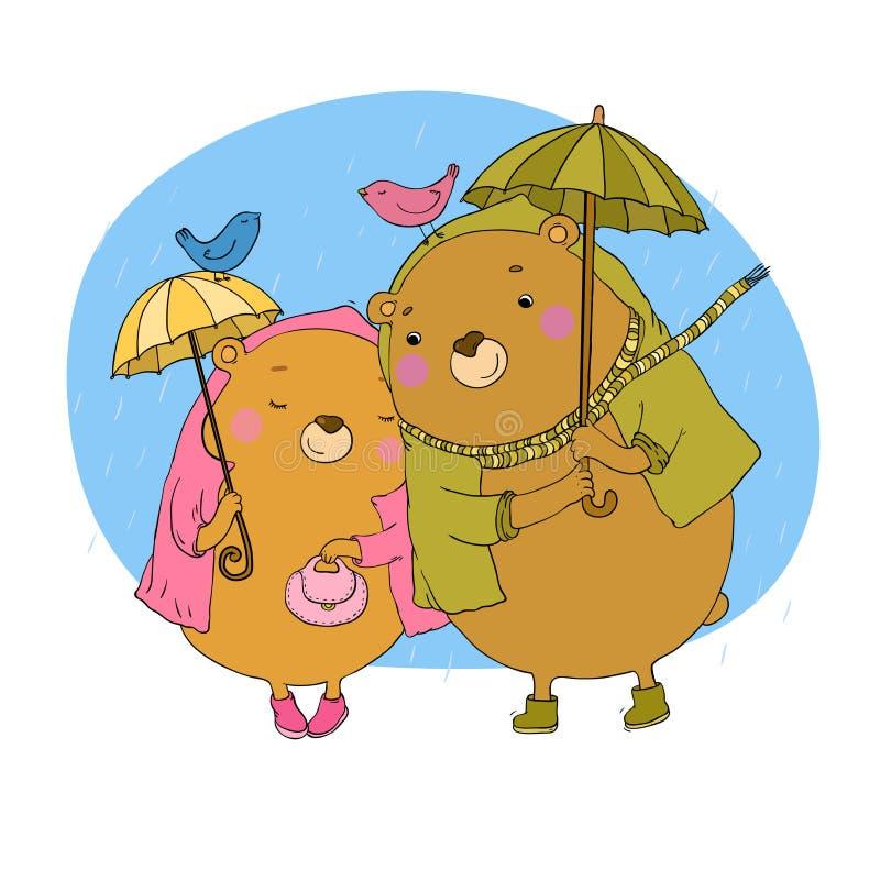 Urso de peluche bonito sob um guarda-chuva ilustração do vetor