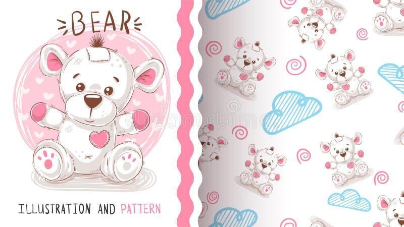 Urso de peluche bonito - teste padrão sem emenda ilustração royalty free