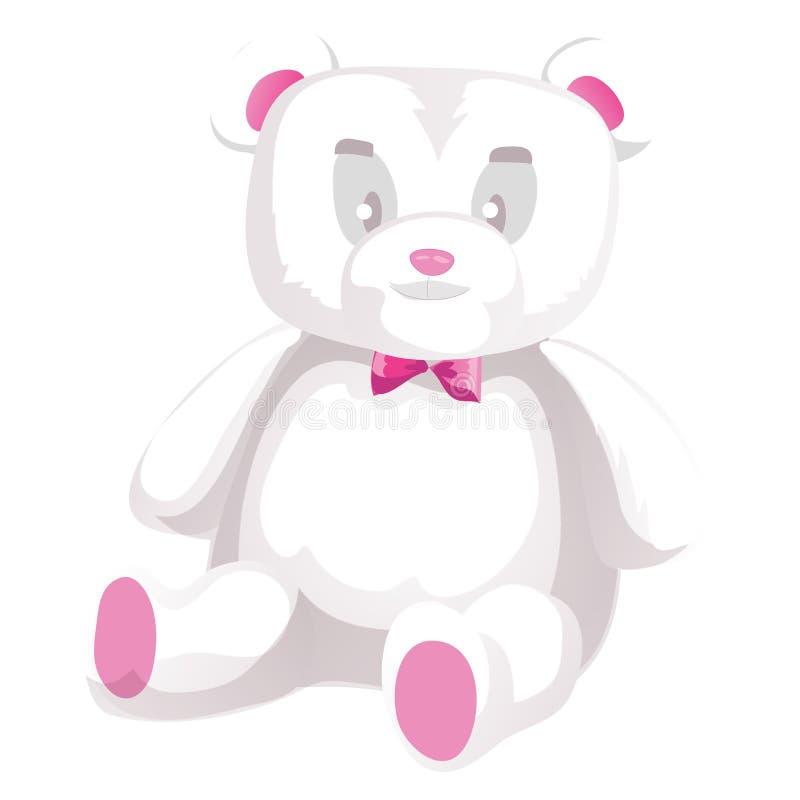 Urso de peluche branco bonito isolado no fundo branco Ilustração do vetor ilustração royalty free