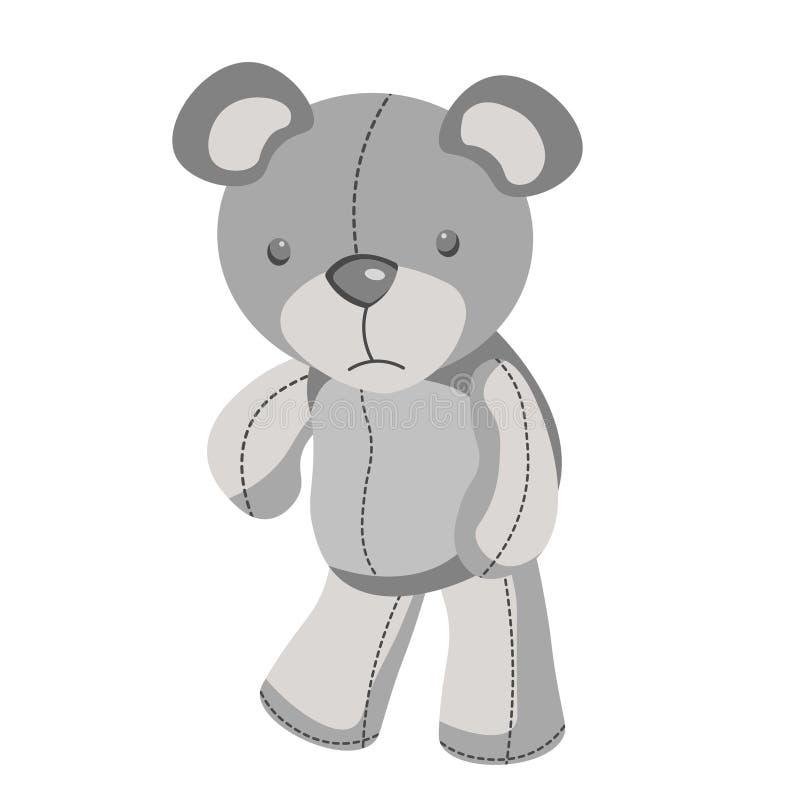 Urso de peluche cinzento triste no vetor ilustração royalty free