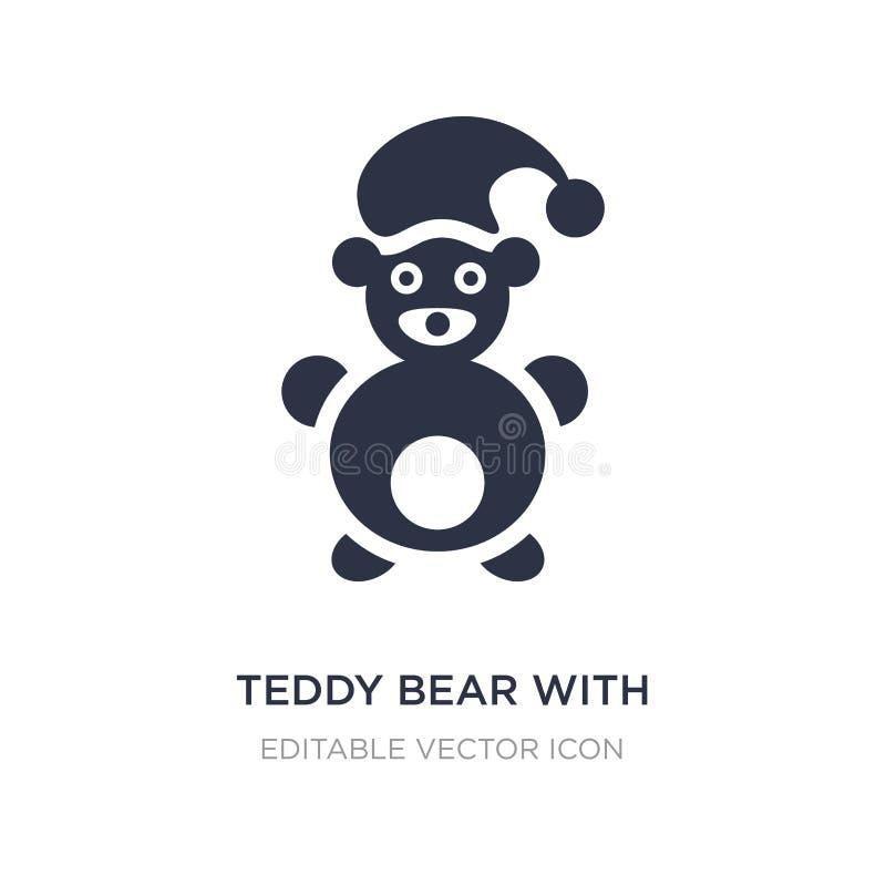 urso de peluche com ícone do chapéu do sono no fundo branco Ilustração simples do elemento do conceito geral ilustração stock