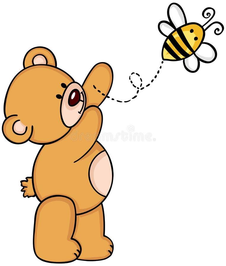 Urso de peluche com abelha ilustração do vetor