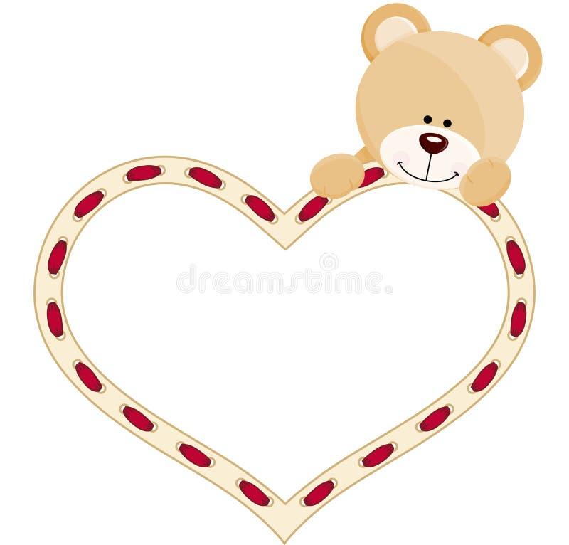 Urso de peluche com coração ilustração royalty free