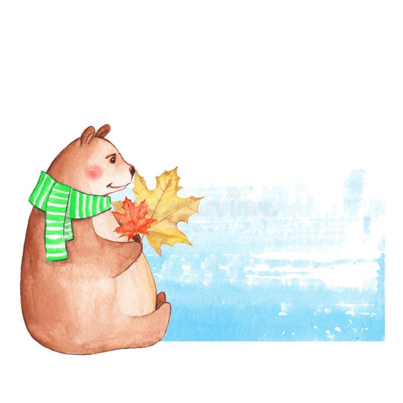 Urso de peluche com folhas de outono ilustração do vetor