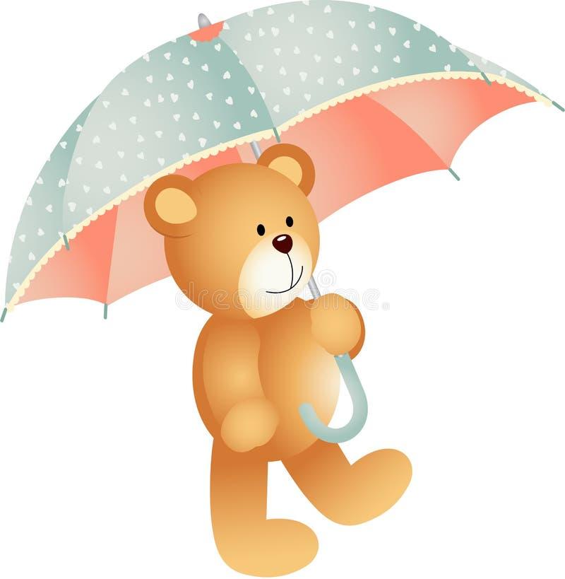 Urso de peluche com guarda-chuva ilustração do vetor