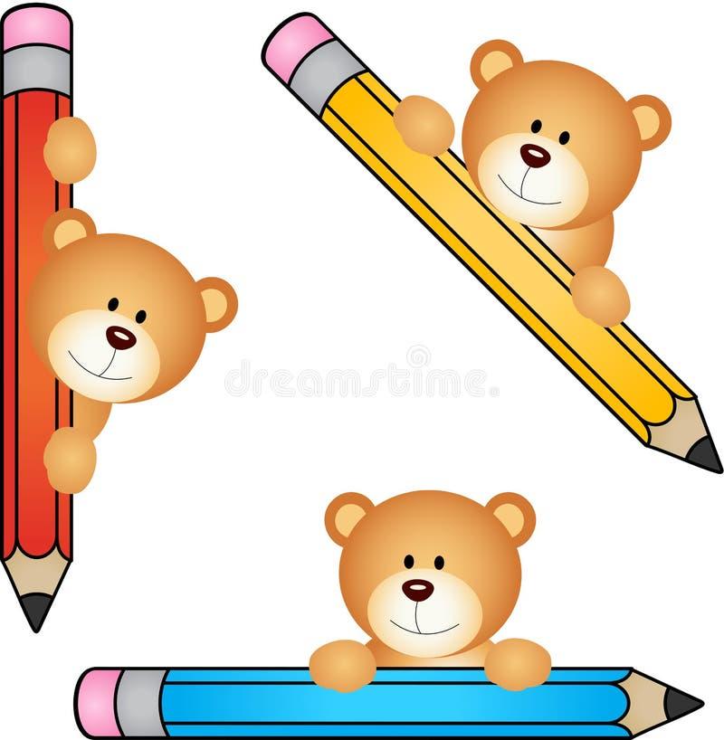Urso de peluche com lápis ilustração royalty free