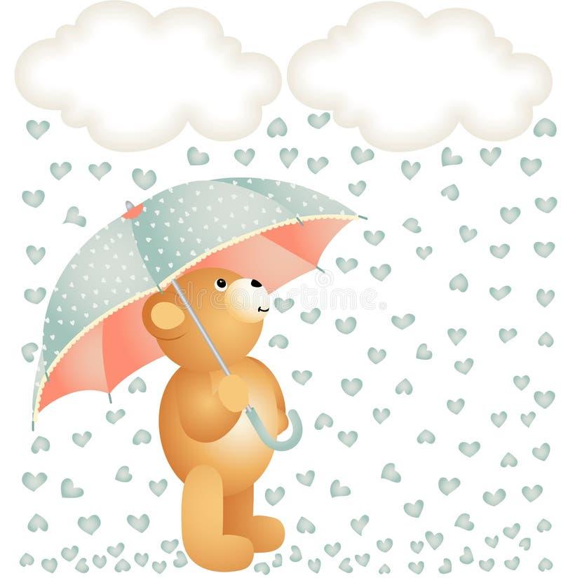 Urso de peluche com o guarda-chuva sob a chuva dos corações ilustração do vetor