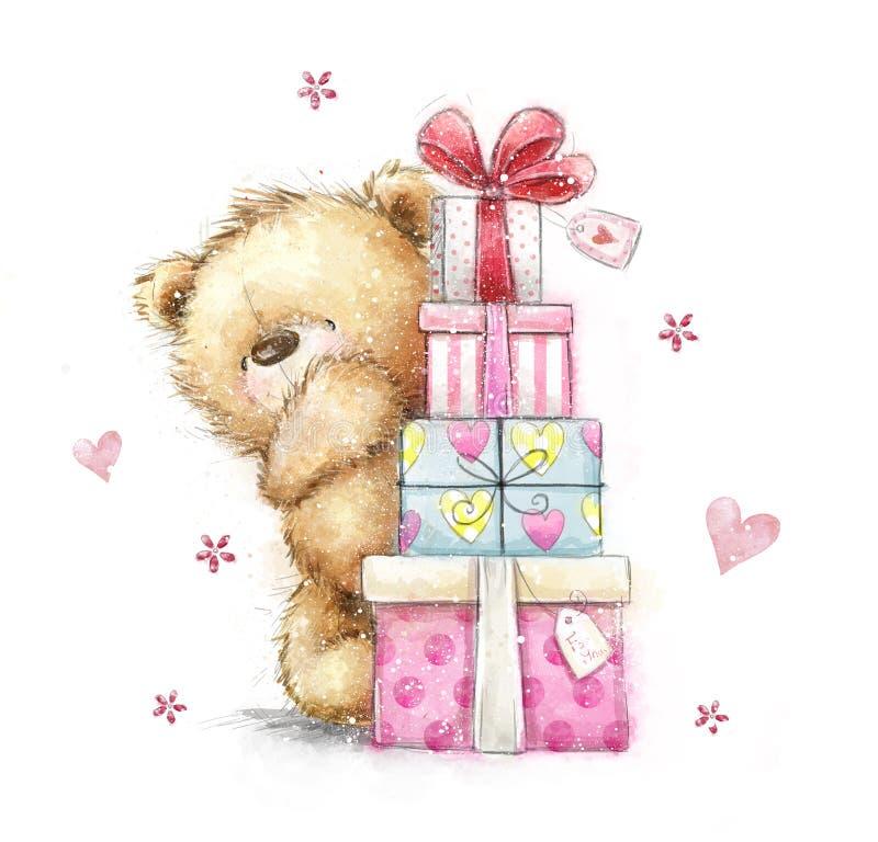 Urso de peluche com os presentes ilustração royalty free