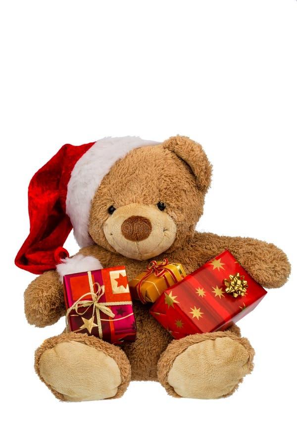 Urso de peluche com presentes do Natal fotos de stock royalty free