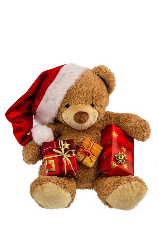 Urso de peluche com presentes do Natal imagem de stock royalty free