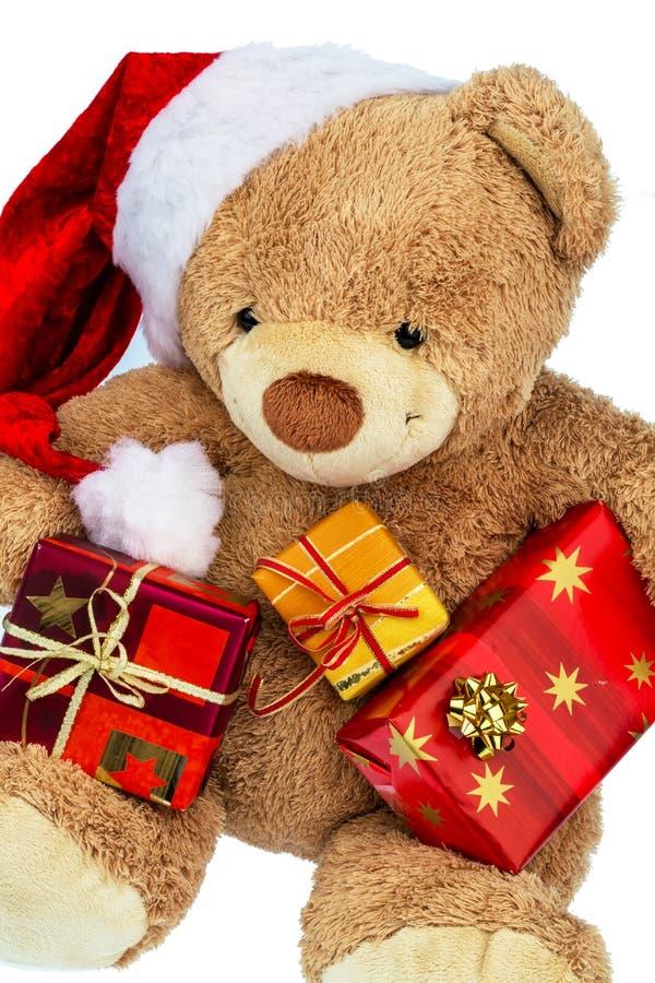 Urso de peluche com presentes do Natal imagem de stock