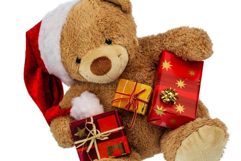 Urso de peluche com presentes do Natal fotografia de stock