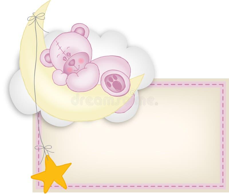 Urso de peluche da etiqueta do bebé que dorme em uma lua ilustração do vetor