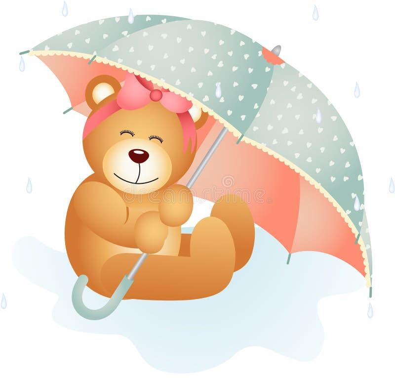 Urso de peluche da menina sob o guarda-chuva em um dia chuvoso ilustração stock