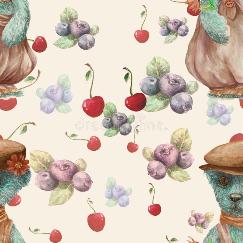 Urso de peluche - desenho da aquarela Composição decorativa Teste padrão sem emenda Imagem de fundo abstrata Use materiais impres ilustração stock